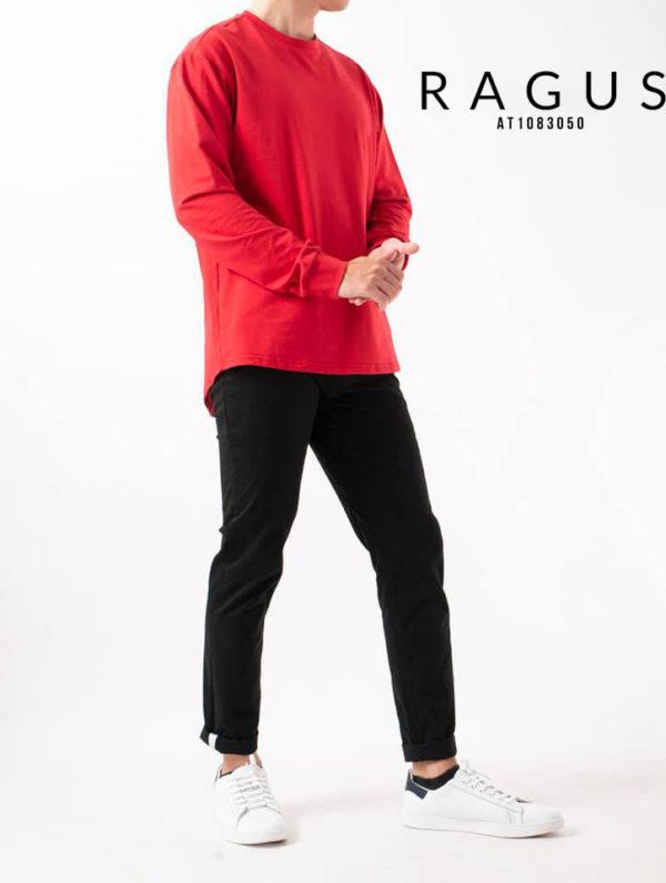 Áo thun tay dài vạt- bầu trơn-cổ tròn Routine 2018 đỏ