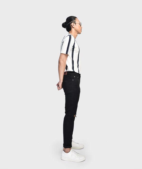 Quần Jean Nam Form Skinny Rách Ống Đen - QJ111019 2