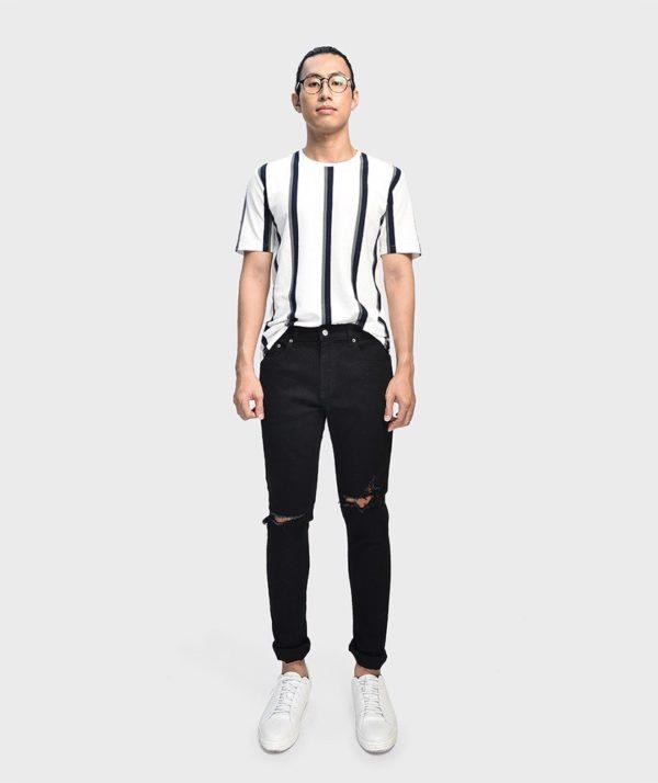 Quần Jean Nam Form Skinny Rách Ống Đen - QJ111019