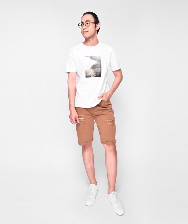 Quần Short Nam Dye Jeans Routine mau nâu 1