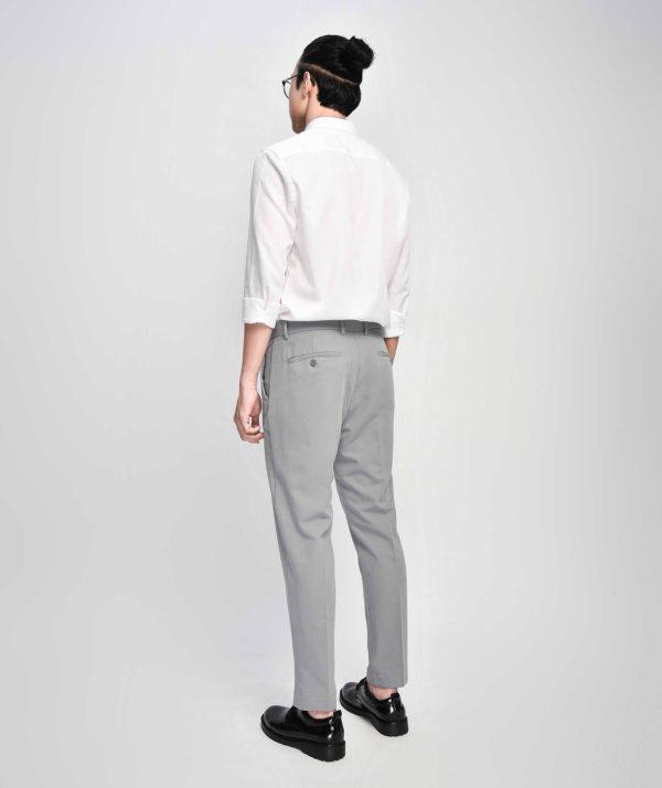 Quần Vải Nam Form Slim Cropped Xám - QV225006 2