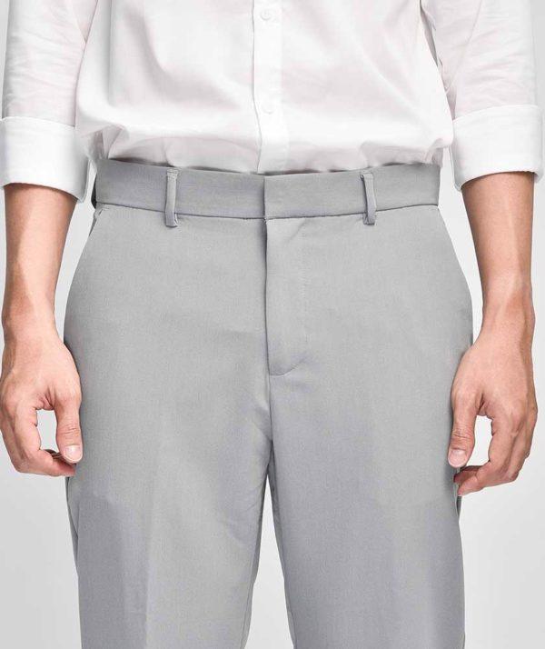Quần Vải Nam Form Slim Cropped Xám - QV225006 4