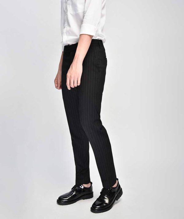 Quần Vải Nam Kẻ Sọc Form Slim Cropped Đen - QV125014 1