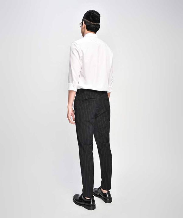 Quần Vải Nam Kẻ Sọc Form Slim Cropped Đen - QV125014 2