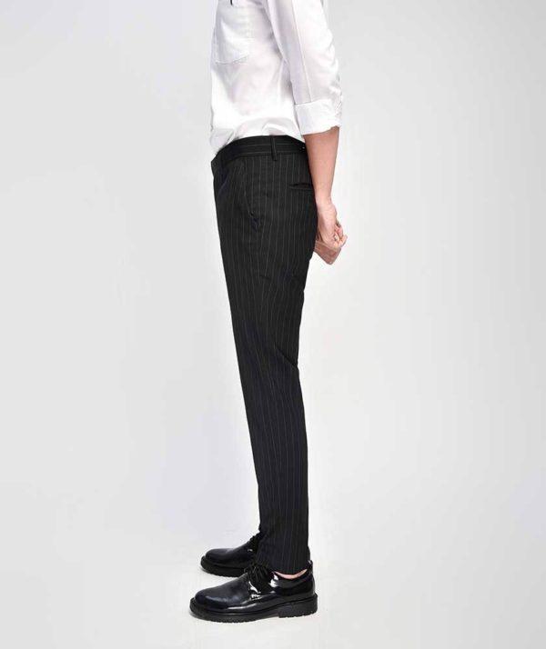 Quần Vải Nam Kẻ Sọc Form Slim Cropped Đen - QV125014 3
