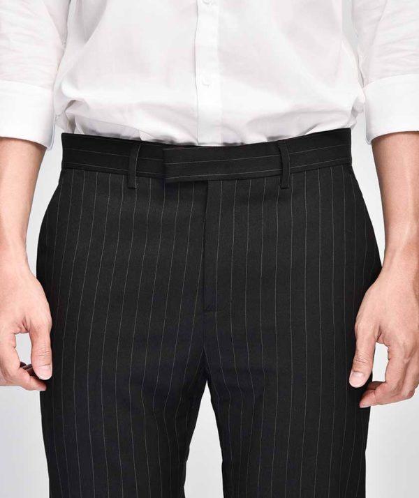 Quần Vải Nam Kẻ Sọc Form Slim Cropped Đen - QV125014 4