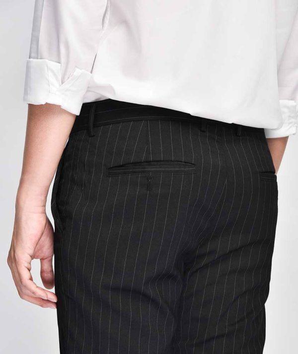 Quần Vải Nam Kẻ Sọc Form Slim Cropped Đen - QV125014 5