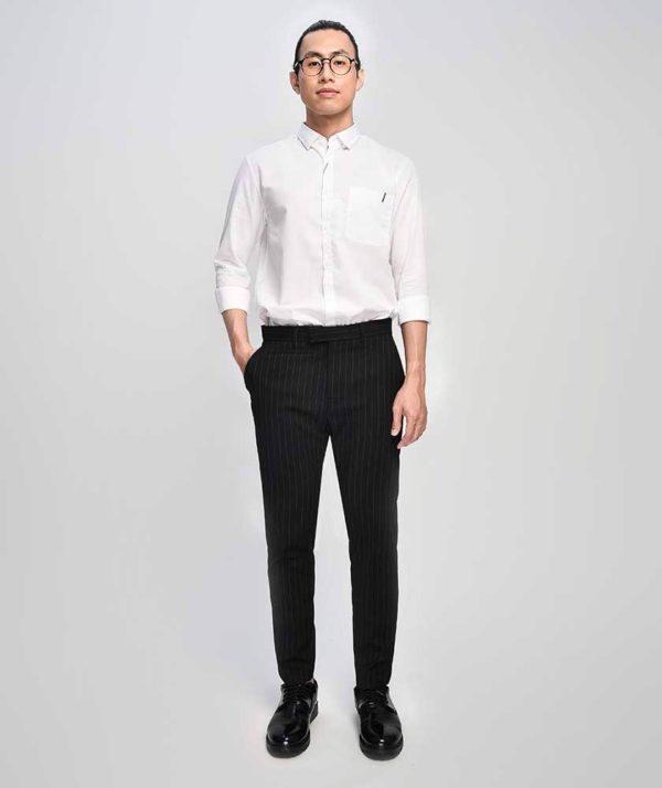 Quần Vải Nam Kẻ Sọc Form Slim Cropped Đen - QV125014