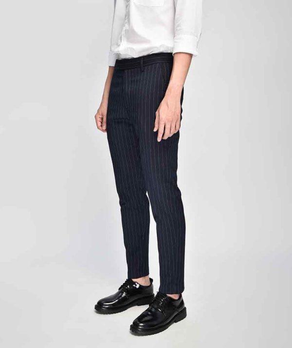 Quần Vải Nam Kẻ Sọc Form Slim Cropped Xanh Qv125015 1