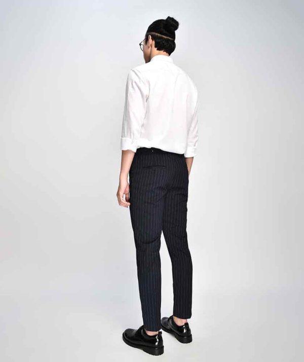 Quần Vải Nam Kẻ Sọc Form Slim Cropped Xanh Qv125015 2