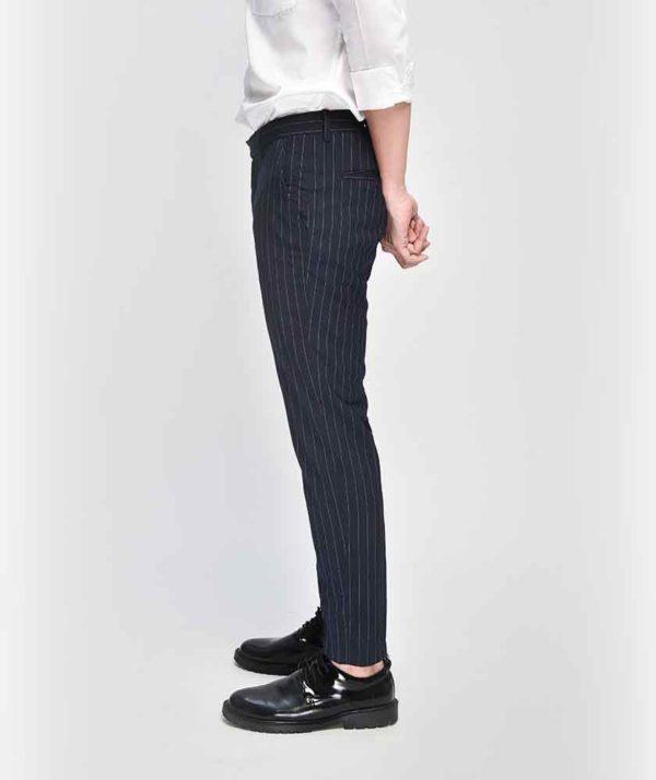 Quần Vải Nam Kẻ Sọc Form Slim Cropped Xanh Qv125015 3