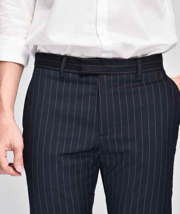 Quần Vải Nam Kẻ Sọc Form Slim Cropped Xanh Qv125015 4