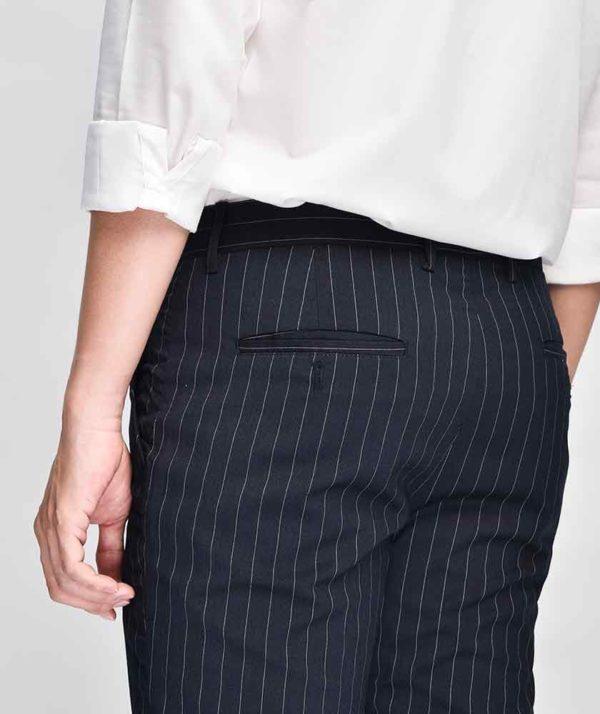 Quần Vải Nam Kẻ Sọc Form Slim Cropped Xanh Qv125015 5