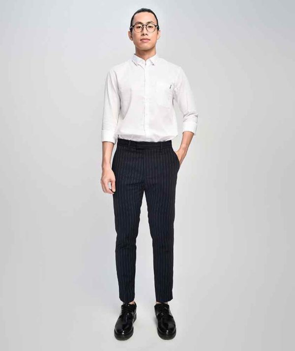 Quần Vải Nam Kẻ Sọc Form Slim Cropped Xanh Qv125015
