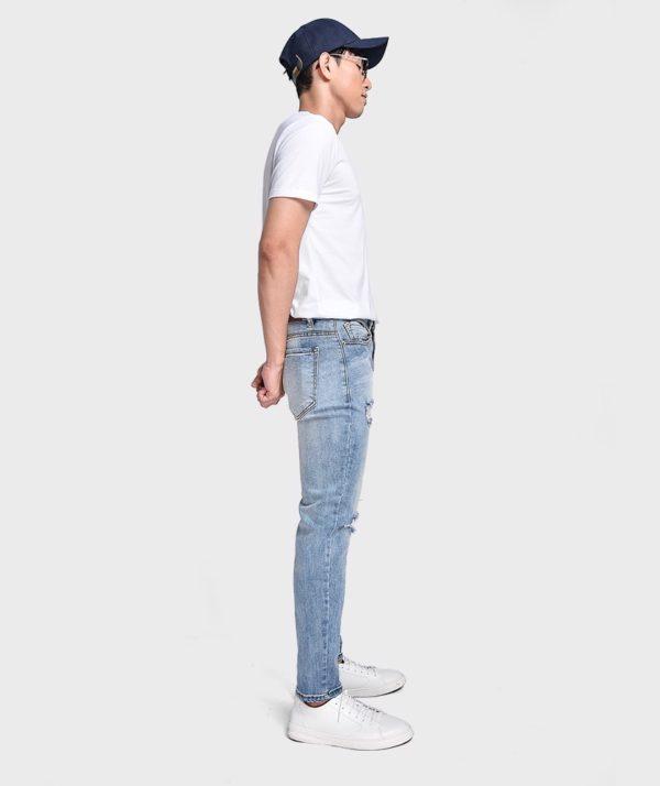 Quần Jean Nam Form Skinny Rách Gối Dây Kéo - QJ121003 2