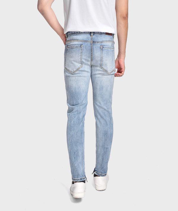 Quần Jean Nam Form Skinny Rách Gối Dây Kéo - QJ121003 3