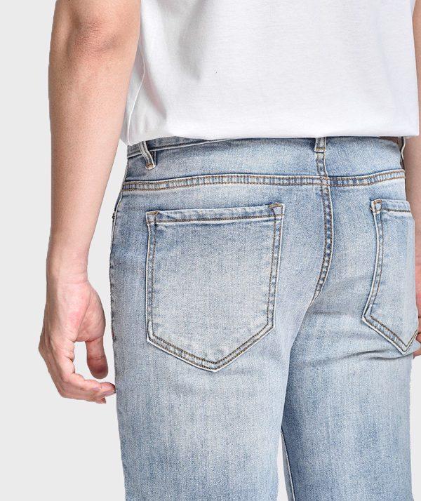 Quần Jean Nam Form Skinny Rách Gối Dây Kéo - QJ121003 6