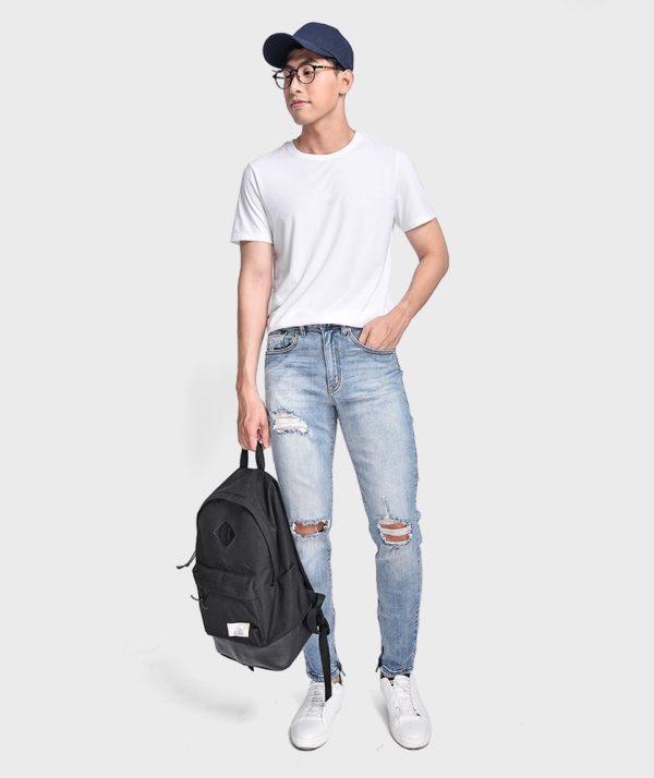 Quần Jean Nam Form Skinny Rách Gối Dây Kéo - QJ121003
