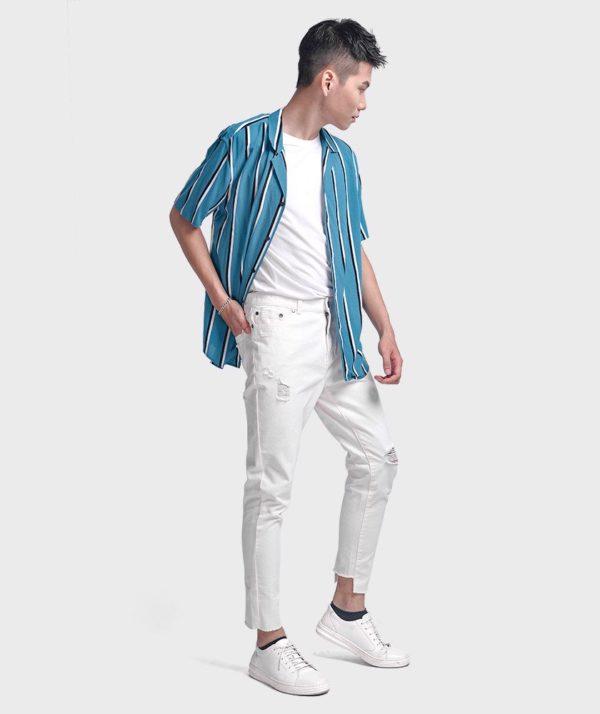 Quần Jean Nam Form Slim Cropped Dye - QJ225005 3