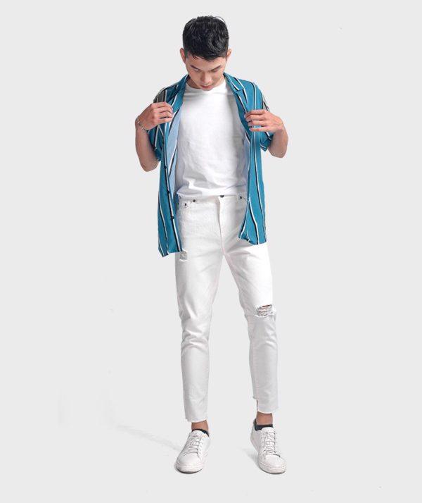 Quần Jean Nam Form Slim Cropped Dye - QJ225005