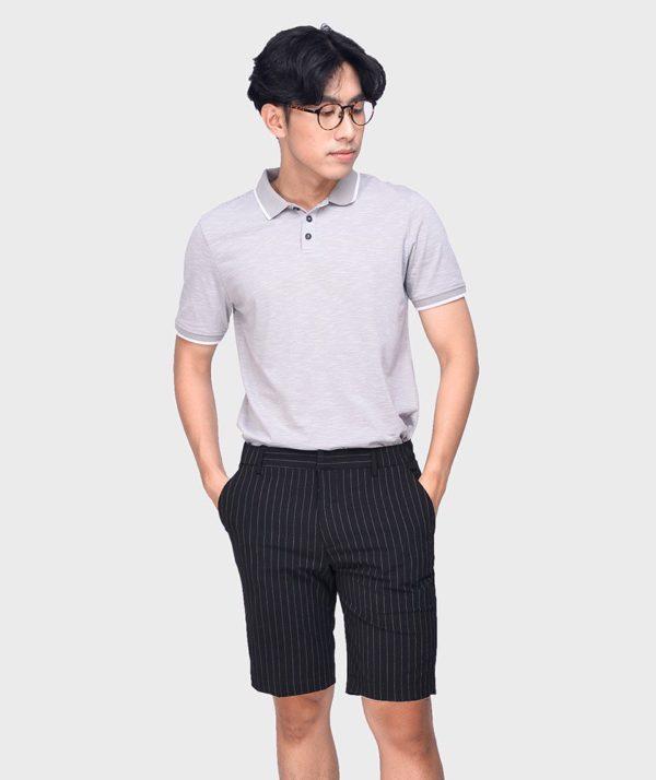 Quần Short Nam Vải Kẻ Sọc Cạp Chun Sau Form Slim - QS13202 1