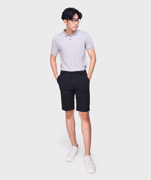 Quần Short Nam Vải Kẻ Sọc Cạp Chun Sau Form Slim - QS13202